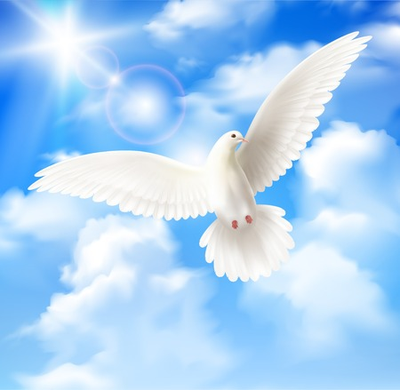Weißer Taubenhintergrund mit realistischer Vektorillustration der Himmelsonne und der Wolken clouds