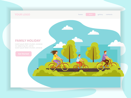 Family summer holidays vacation outdoor activity planning orthogonal web landing page design with cycling tour vector illustration Illustration