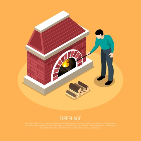 Man with poker near red white fire place from brick on orange background isometric vector illustration