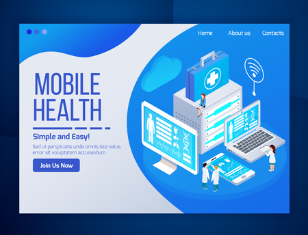 Mobile health care telemedicine glow isometric web page design with medical tests laptop tablet phone screens vector illustration