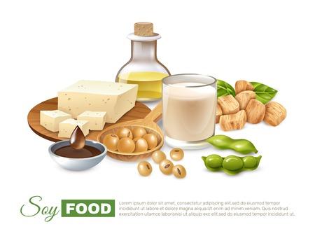Soja voedingsproducten poster met bonen peulen melk en vlees tofu plantaardige olie vectorillustratie