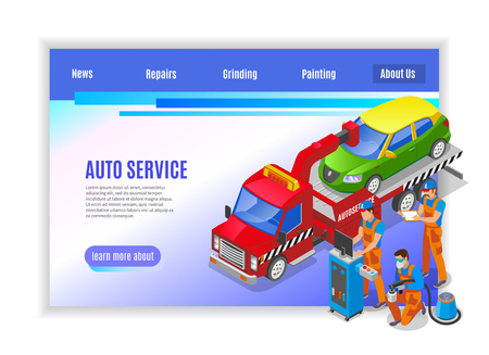 Auto service page design with repairs and painting symbols isometric vector illustration Illustration