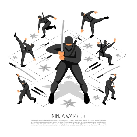 Ninja warrior unbeatable stickman character in various action poses isometric interactive video game advertisement poster vector illustration