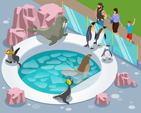 Contact zoo isometric composition with penguin custom made lake and people behind the glossy separating barrier vector illustration Archivio Fotografico - 114528061