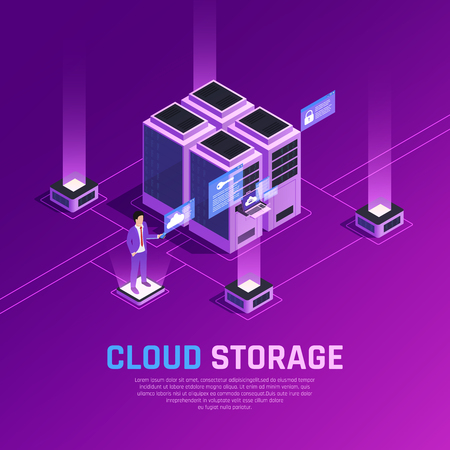 Cloud office glow isometric composition with images of server units and human character with remote controller vector illustration
