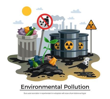 Contaminación ambiental peligrosos desechos industriales y domésticos radiactivos desastres ecológicos conciencia composición plana cartel ilustración vectorial Ilustración de vector