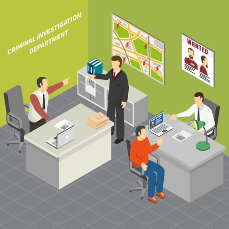 Law justice criminal investigation department detectives collecting crime evidence talking to suspect witnesses  isometric composition vector illustration