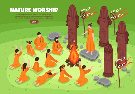 Isometric religious cult horizontal banner composition with text join button and outdoor prayer meeting with idols vector illustration Ilustração