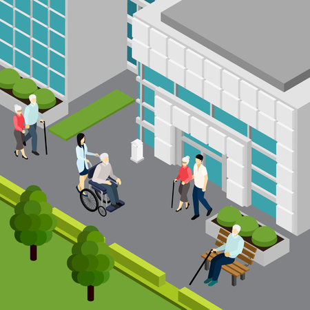 Elderly couple and lonely pensioners with attendants near institution building isometric vector illustration