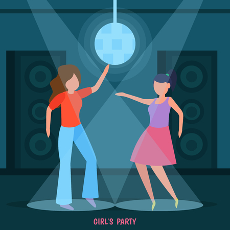 Girls friendship orthogonal composition with night club disco ladies party women dancing in spotlight together vector illustration