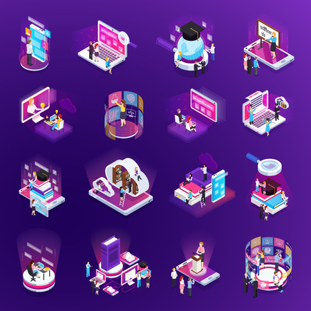 E-learning online training education virtual library distant tutors glow isometric icons set purple background vector illustration