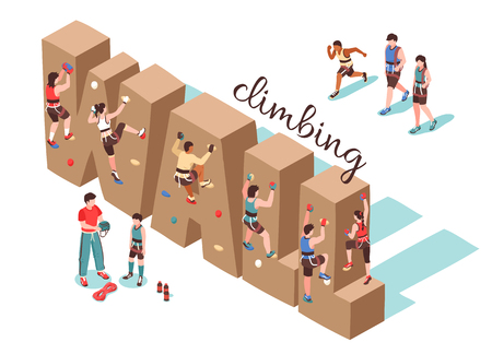 Isometric climbing wall horizontal background composition with text shaped rock walls and human characters of cragsmen vector illustration Illustration