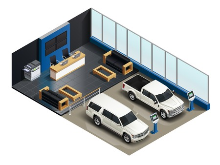 Auto sale salon realistic isometric composition with 2 vehicles electronic info display customers service unit vector illustration