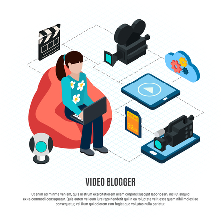 Photo video isometric background with editable text and flowchart composition with video blogger and shooting gear vector illustration