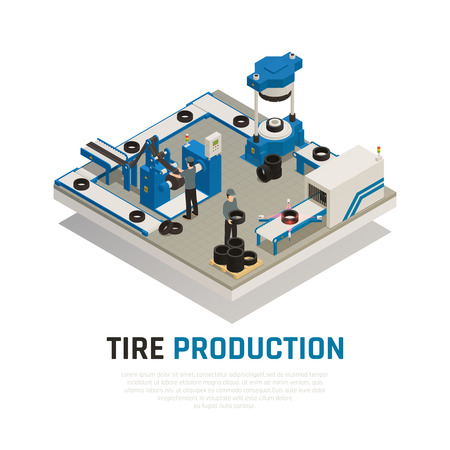 Tire production isometric composition with industrial equipment for manufacturing and maintenance of automobile wheel vector illustration