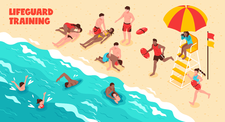 Lifeguard training horizontal vector illustration showing watching people who swim and saving drowning in water and on beach Illustration