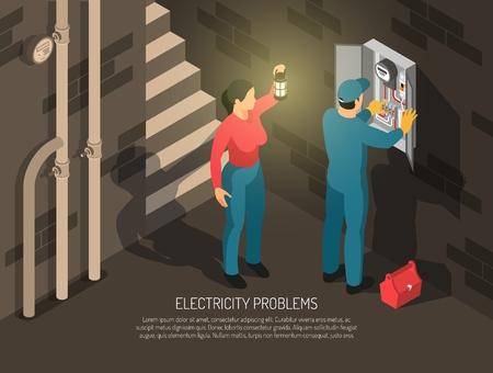 Fondo horizontal de electricista isométrico con personajes humanos de composición de sótano interior de trabajador y anfitrión con ilustración de vector de texto