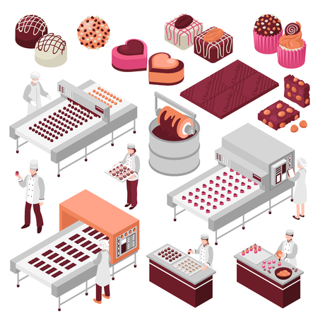 Chocolate manufacture isometric set of sweet food production automated factory lines and staff making candies vector illustration