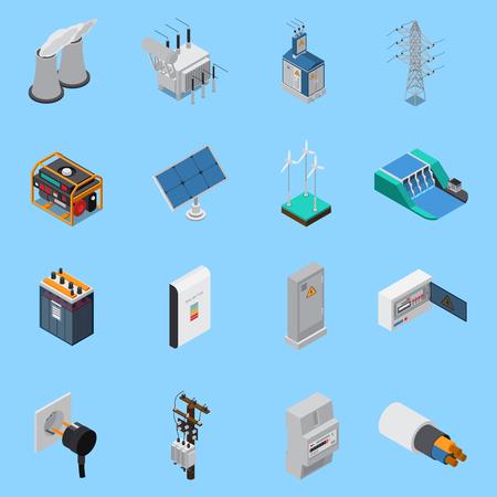 Izometryczne ikony energii elektrycznej zestaw z kablowymi panelami słonecznymi wiatrowe generatory energii wodnej transformator gniazdo na białym tle ilustracji wektorowych