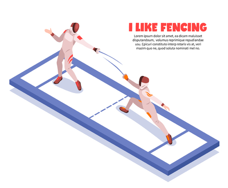 Isometric fencing background composition of fencing piste with two fighting swordsmen characters and editable text description vector illustration