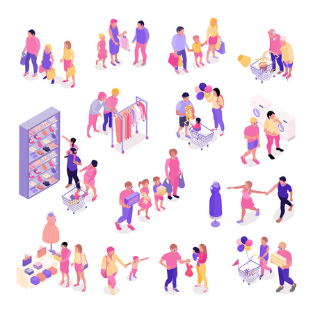 Isometric set of colorful icons with families shopping for clothes shoes interior objects isolated on white background 3d vector illustration