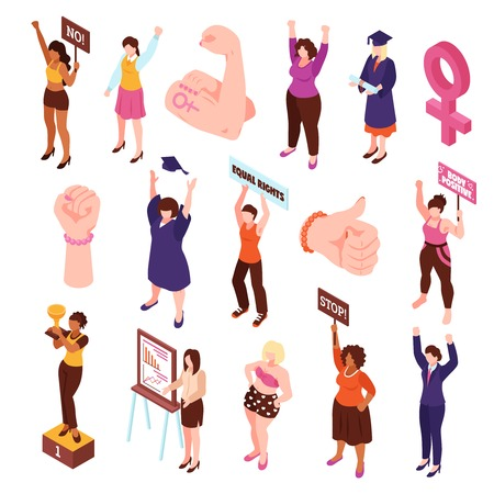 Isometric feminism set of isolated fists and characters of women protesting and picketing for equal rights vector illustration