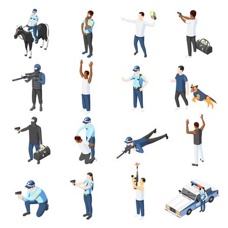 Bande e set di icone isometriche della polizia di ufficiale con addestramento alle armi che pattugliano a caccia di illustrazioni vettoriali isolate criminali Vettoriali