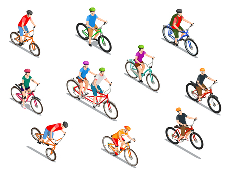 Cyclists with helmets during extreme ride tandem and tourist trip set of isometric icons isolated vector illustration