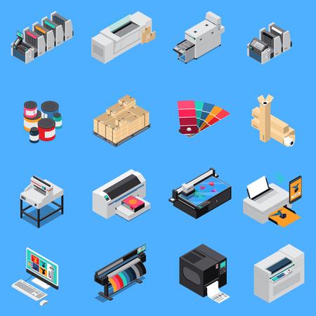 Isometrische Symbole für die Produktion von Druckereiausrüstungen, die mit digitaler Technologie und Offsetdruckmaschinen eingestellt wurden, isolierte Vektorillustration Vektorgrafik