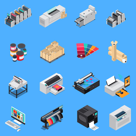 Printing house equipment production isometric icons set with digital technology and offset press devices isolated vector illustration