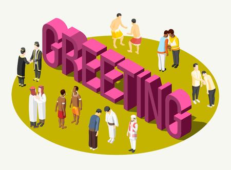 Composizione isometrica colorata che mostra come le persone si salutano in diversi paesi illustrazione vettoriale 3d Vettoriali