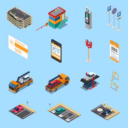 Parking lots facilities isometric icons set with multilevel garage pass ticket and tow truck isolated vector illustration