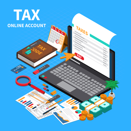 Tax statement on web isometric composition with laptop screen online account code specifications handbook payment vector illustration Stockfoto - 114796823