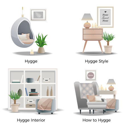 Scandinavian hygge style concept 4 cozy interior design compositions with candles comfortable reading nooks isolated vector illustration