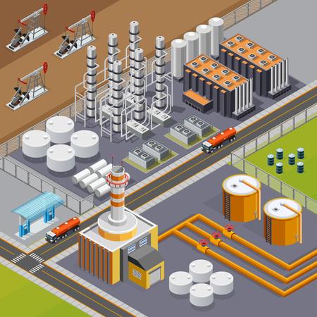 Ölindustrie und Transportzusammensetzung mit großer Raffinerie und Pumpjacks 3d isometrische Vektorillustration Vektorgrafik