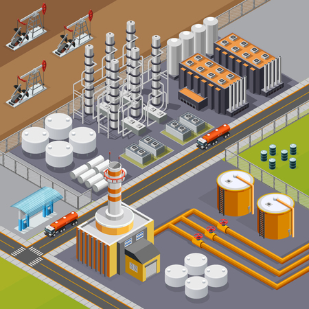 Oil industry and transportation composition with big refinery and pumpjacks 3d isometric vector illustration Vektorové ilustrace