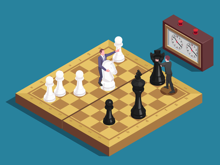 Chess concept allegoric isometric composition with players moving knight and queen chessboard pieces as business managers vector illustration