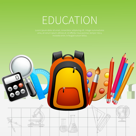 Education realistic poster vector illustration with school bag calculator protractor paints brush pens decorative icons vector illustration