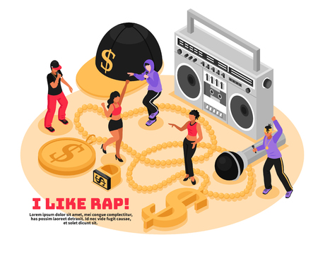 I like rap retro design concept with cassette player microphone singing and dancing teens isometric vector illustration