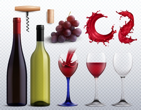 Wine realistic transparent set with grapes and glass isolated vector illustration