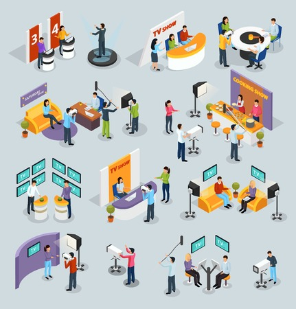 Isometric quiz tv show icons collection of human characters on television channel shooting equipment with shadows vector illustration Illustration