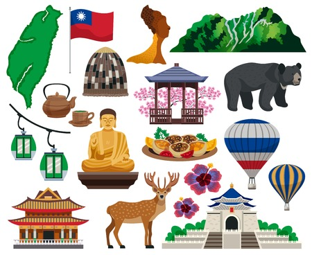 Taiwan travel cultural symbols traditions food sightseeing landmarks tourists attractions architecture flat elements set isolated vector illustration
