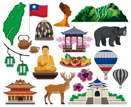 Taiwan Reisen kulturelle Symbole Traditionen Essen Sightseeing Sehenswürdigkeiten Touristenattraktionen Architektur flache Elemente Set isolierte Vektorillustration