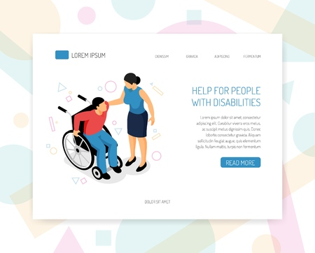 Disabled people help organizations volunteers training fundraising isometric web page design with providing wheelchair assistance vector illustration Çizim