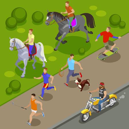 Fondo de actividades al aire libre con patineta y símbolos de equitación ilustración vectorial isométrica Ilustración de vector