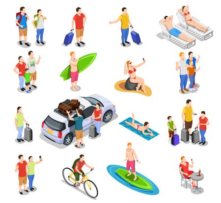 Conjunto de personas isométricas durante las vacaciones que viajan en coche, surf, bicicleta, paseos en la playa, vacaciones en la playa, ilustración vectorial aislada