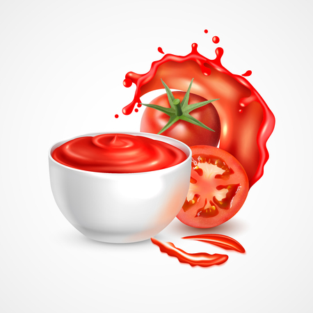 Tomato sauce bowl realistic composition with fresh whole vegetable and slice in splash of juice vector illustration