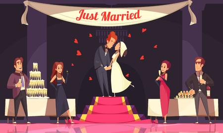 Recepción de la boda con mesas de banquete de invitados de novio y novia con ilustración de vector de dibujos animados de comida y bebida Ilustración de vector