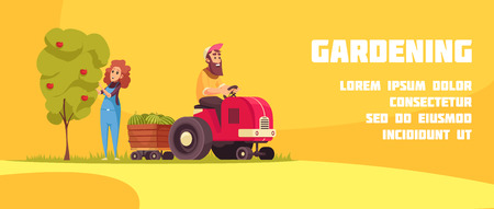 Gardening horizontal banner with farmers during fruits harvesting on yellow background cartoon vector illustration