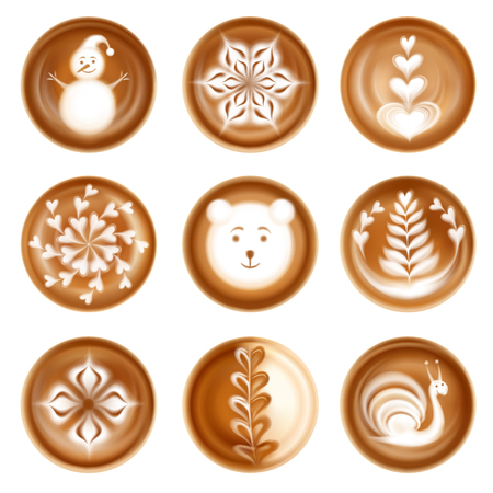 Set of realistic latte art images decorative compositions animals festive winter symbols isolated vector illustration Illustration